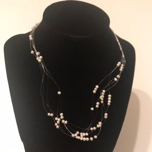 Floating Seed Pearl Necklace, 19""